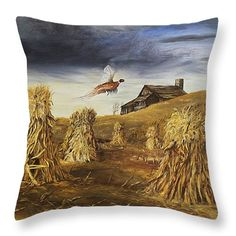 "Beautiful country theme of pheasants and corn stalks with old barn to any room with ""Olden Days"" Throw Pillow 14"" x 14"" (shown) 20"" x 14"" also available by Johanna Lerwick - Wildlife/Nature Art. Prints (paper, canvas, acrylic & metal), greeting cards and throw pillows available."