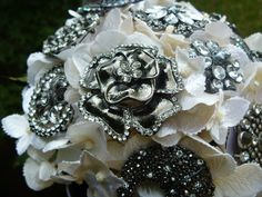Beautiful Bridal Brooch Bouquet in Ivory - Ready to Ship. $124.00, via Etsy.
