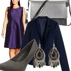 Abitino davvero elegante per chi ha delle forme più morbide...blu satinato e a fantasia ton sur ton. Abbiniamo un blazer blu, delle décolletè grigie in camoscio per dare slancio, orecchini in tinta con scarpe e borsa.