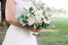 Wedding bouquet, eucalyptus, ruscus, peonies, green, white, ivory Garden Rose Bouquet, Wedding Bouquets, Wedding Dresses, Peonies, Floral Arrangements, Ivory, Green, Bride Dresses, Bridal Gowns