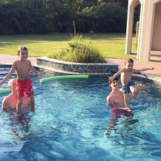 Attempting to teach the 3-year-old water gymnastics