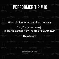 No need to overdo your introduction. #thespians #acting #broadway #actingquotes #theatrequotes #actinginspiration #actors #quote #quoteoftheday #actorslife #motivation #inspiration #theater #performerstuff #instatheatre #theatreislife