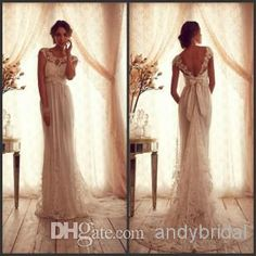 Wholesale Anna Campbell 2014 Bridal Gown for Pregnant Woman Sheer Illusion Neck Backless Bow Applique Chiffon Lace Garden/Beach Sheath Wedding Dresses, Free shipping, $134.04/Piece | DHgate Mobile