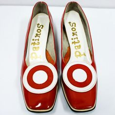 1960s Red & White Mod Target Flats