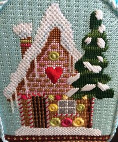 Kirk & Bradley needlepoint gingerbread house snowglobe