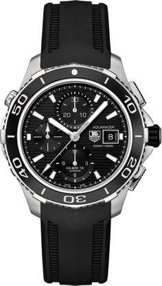 TAG Heuer Watch Aquaracer Automatic Chronograph #bezel-unidirectional #bracelet-strap-rubber #water-resistant-500m