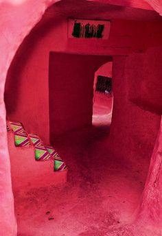 exotic entrance to a red tent sanctuary... the sound of music leads the way....