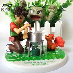 Brock+Geodude+Vulpix Action Figure Sets Pocket Monster Toys Game Anime Figures Vinyl Doll Kids Toys Boy Birthday Christmas Gift