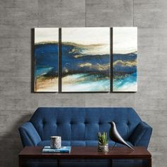 Blue & Gold Abstract Wave Wall Art - Set of 3