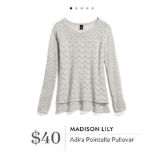Stitch Fix: Madison Lily Adira Pointelle Pullover $40. Love how feminine this is!!