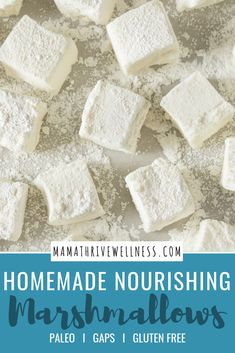 Are you wondering how to make delicious, homemade marshmallows? Well, look no further! This super easy, healthy dessert recipe made without corn syrup and flavored with vanilla and honey will make the perfect gift. Perfect for roasting or eating as fluff. Marshmallow Recipe No Corn Syrup, How To Make Marshmallows, Recipes With Marshmallows, Homemade Marshmallows, Paleo Dessert, Healthy Dessert Recipes, Real Food Recipes, Fudge Recipes, Healthier Desserts