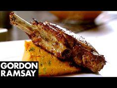Spiced Pork Chop with Sweet Potato Mash - Gordon Ramsay Lamb Steak Recipes, Pork Chop Recipes, Gordon Ramsey Pork Chop Recipe, Lamb Chops, Pork Chops, Barbecue Pork Ribs, Chef Gordon Ramsay, How To Cook Pork, Mashed Sweet Potatoes