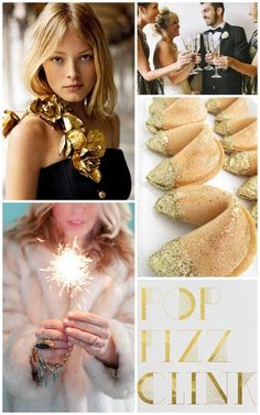 New Year's Eve Wedding — love the glitter dipped fortune cookies