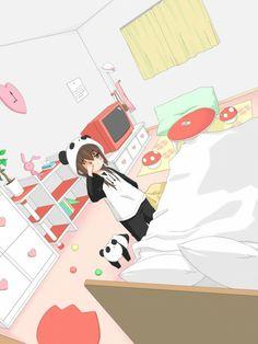 部屋のアニメ。Anime room. Panda Girl ♡