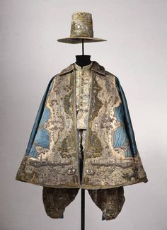 17th century man's ensemble; embroidered with a map.  Staatliche Kunstsammlungen Dresden.