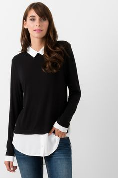 a6e57d0897a9f Suzy Shier Top With Faux Shirt Detail