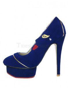 Stylish Dark Navy Spike Heel Suede Leather High Heels for Woman