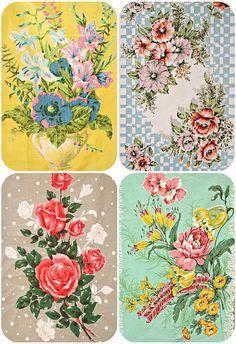 vintage floral teatowels by Olive & Esther on Flickr