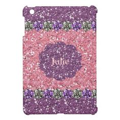 All Girl Pink Purple Glitter Gem Look Personalized iPad Mini Covers