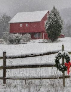 Clarks Valley Christmas by Lori Deiter. Red barn in the snow with a wreathe on the wooden fence Country Christmas, Winter Christmas, Winter Snow, Christmas Time, Xmas, Merry Christmas, Purple Christmas, Primitive Christmas, Barn Pictures