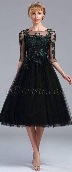 Black Half Sleeves Lace Appliques Cocktail Dress #eDressit