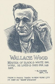 The great Wally Wood by the Great Robert Crumb. Robert Crumb, Comic Book Artists, Comic Artist, Comic Books Art, Billy Childish, Fritz The Cat, Art Spiegelman, Ec Comics, Music Drawings