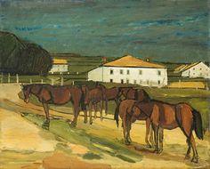 «Pferde in den Freibergen» , um 1953 - 1954 Berg, Painting, Switzerland, Auction, Art Production, Painting Art, Paintings, Painted Canvas, Drawings