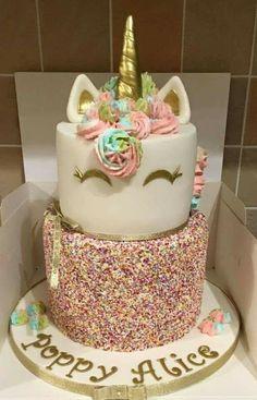 Rainbow unicorn cake (Cake Decorating Unicorn) (birthday cake for teens) Unicorn Birthday Parties, Unicorn Party, Rainbow Unicorn, Unicorn Cakes, 5th Birthday, Birthday Ideas, 13th Birthday Cake For Girls, 2 Year Old Birthday Cake, Bolo Tumblr