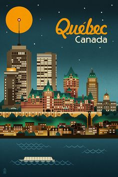 Quebec, Canada - Retro Skyline - Lantern Press Artwork