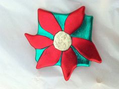 Poinsettia Pin Christmas Jewelry Poinsettia by PatchworkPeoplePins, $11.00