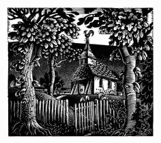"""""""Sussex Church"""" by Eric Ravilious (wood engraving)"""