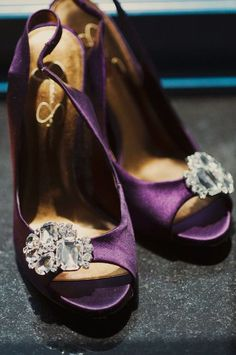 satin plum peep-toe heels (Jessica Simpson?) with bling