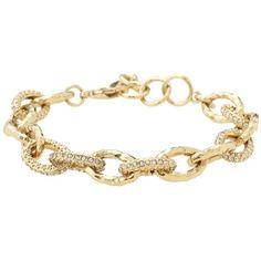 Stella & Dot Christina Link Bracelet - Gold ($49) ❤ liked on Polyvore featuring jewelry, bracelets, accessories, stella & dot, pulseiras, gold jewelry, gold jewellery, stella & dot jewelry and pave jewelry