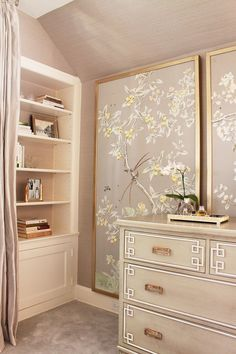 love the chinoiserie panels.  It's a nice way to have the look of wallpaper without committing to wallpaper.