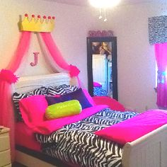 Girls zebra print bedroom