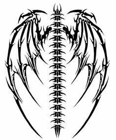 Spine Dragon Wings Tattoo Idea