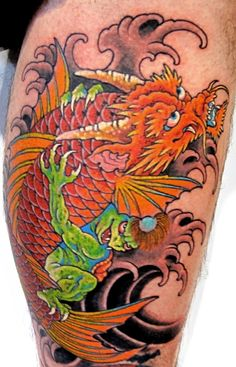 Koi Dragon with a Kappa Tattoo by Chris Garver Dragon Koi Fish, Koi Dragon Tattoo, Koi Fish Tattoo, Snake Tattoo, Tattoo Art, Tiger Tattoo Sleeve, Calf Tattoo, Sleeve Tattoos, Tribal Tattoo Designs
