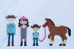 link to tutorial on how to make a custom cross-stitch family portrait
