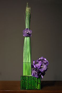Purple vanda orchid arrangement