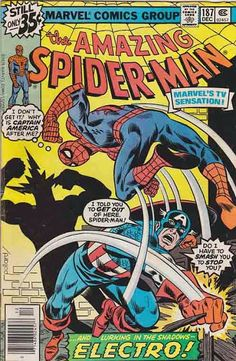 AMAZING SPIDER-MAN #187. The Power of Electro! James (Jim) Starlin Pencils - Keith Pollard Cover Art / Marv Wolfman Scripts. Captain America Appearance.