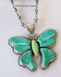 David Troutman turquoise, peridot & gaspeite butterfly Pendant on Schaef Designs Jewelry gaspeite 3-strand necklace | Schaef Designs Artisan Handcrafted Jewelry