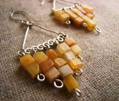 Mustard Yellow Jade Hand Hammered Forged Wire Earrings -- Bao Zhong (Take Care).