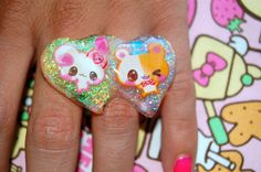 kawaii hamster and mouse ring by chippednailpolish on Etsy, $5.00