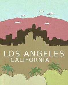 Los Angeles California // Digital Illustration par LisaBarbero, $18.00