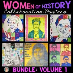 Women's History Month Collaboration Posters Bundle Volume 1.This is the first volume of my Women's History Month Collaboration Posters bundled together. There are 6 famous people in this bundle: Harriet Tubman, Marie Curie, Frida Kahlo, Rosa Parks, Rosie the Riveter and Malala Yousafzai. These posters are great for ANY age or grade as there are poster variations included.