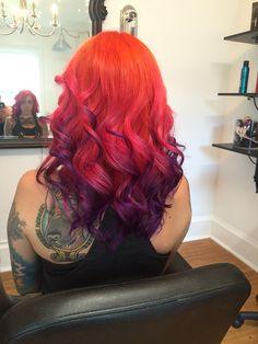 Color melt with pravana vivids! Colorful orange pink and purple hair. Beautiful! Www.doristella.com