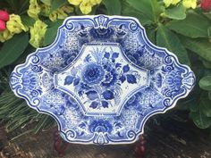 Delft Charger Rare Delfts Blauw Schotel Fruit Bowl 花王 Kaou Peony Pioen Wall Art Floral Plate Platter Schaal Ram Arnhem Netherlands *Free S&H Floral Wall, Art Floral, Military Cemetery, American Cemetery, Chinese Patterns, Another A, Queen Birthday, Blue And White China, Best Fruits