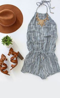 Romper for summer with a cute pair of sandals.