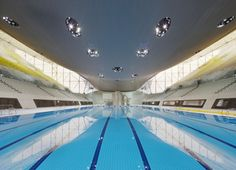 Aquatics Centre. Swimming, Diving, Synchronized Swimming, Modern Pentathlon. Zaha Hadid Architects