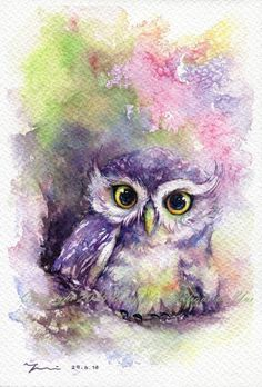 PRINT Rainbow Owl Watercolor painting 7.5 x